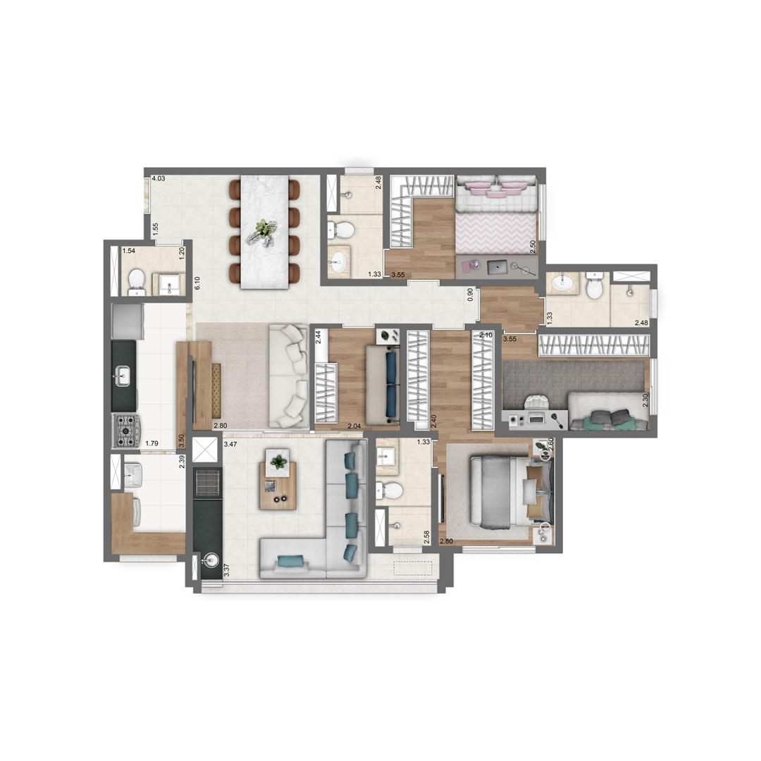 110 m² | 4 quartos (2 suítes)