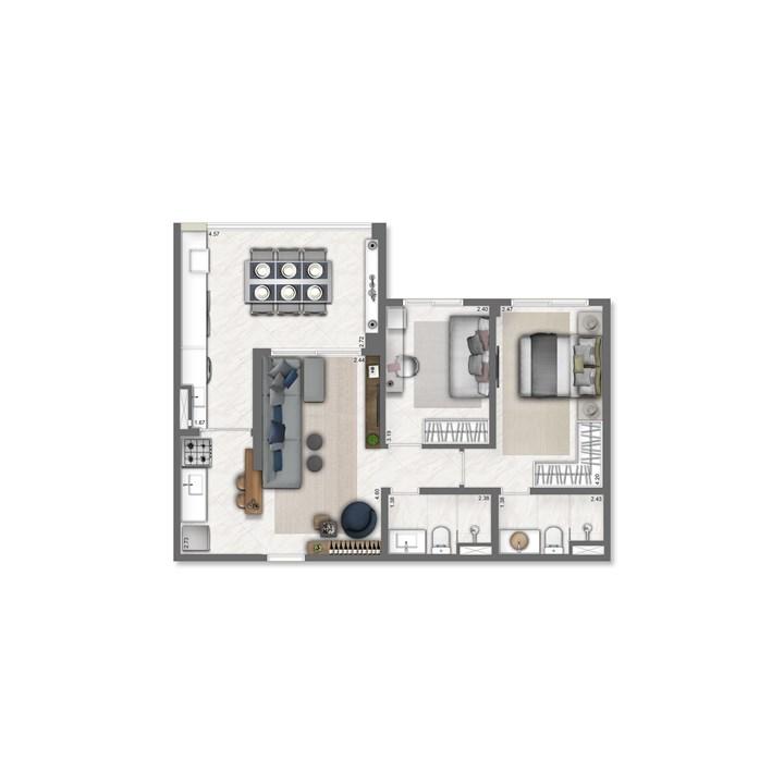 68 m² | Nativ Tatuapé – Apartamentono  Tatuapé - São Paulo - São Paulo