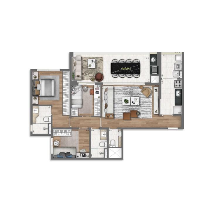 96 m² | Nativ Tatuapé – Apartamentono  Tatuapé - São Paulo - São Paulo
