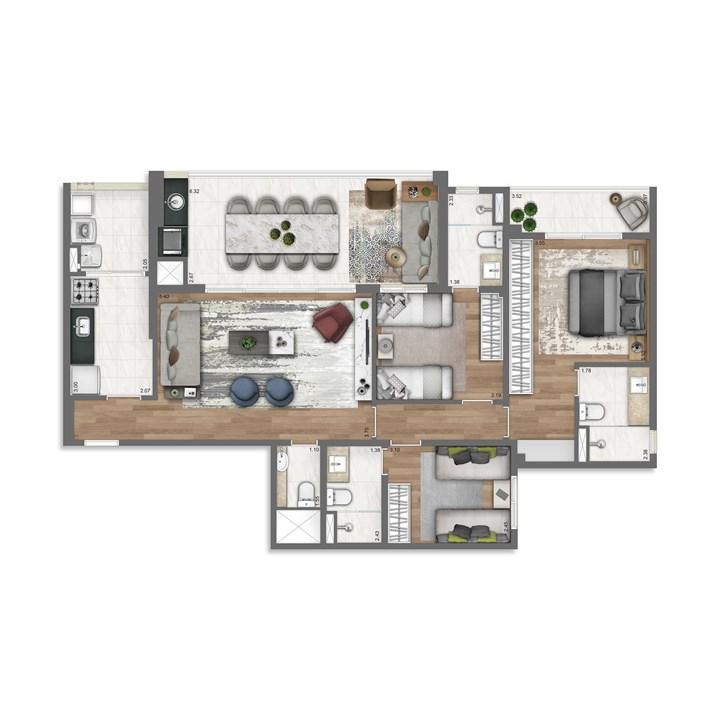 115 m² | Nativ Tatuapé – Apartamentono  Tatuapé - São Paulo - São Paulo