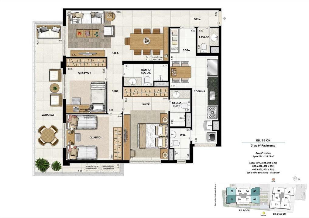 Ed. BE ON -  Apto. 301 | Opção 1 | ON – Apartamentoem  Botafogo - Rio de Janeiro - Rio de Janeiro