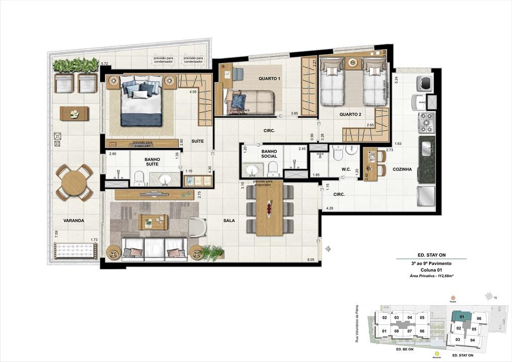 Ed. STAY ON -  Apto. 301 | Coluna 1 | ON – Apartamentoem  Botafogo - Rio de Janeiro - Rio de Janeiro