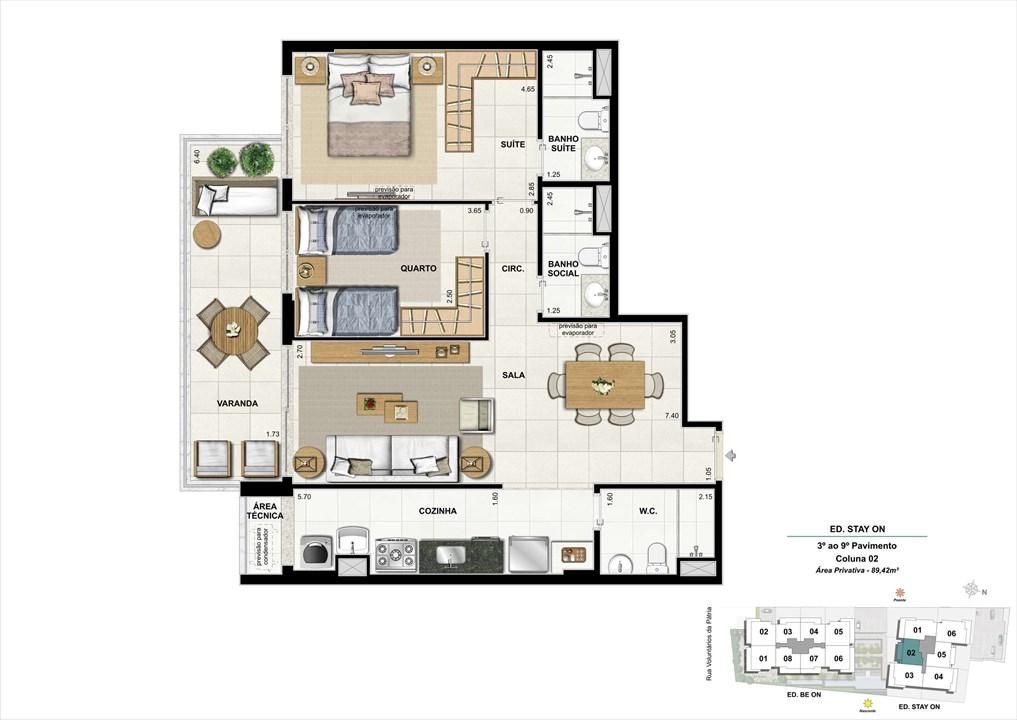 Ed. STAY ON -  Apto. 302 | Coluna 2 | ON – Apartamentoem  Botafogo - Rio de Janeiro - Rio de Janeiro