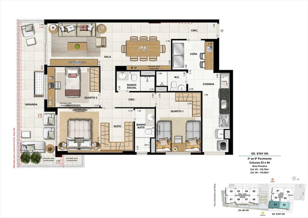 Ed. STAY ON -  Apto. 303 | Coluna 3 e 4 | ON – Apartamentoem  Botafogo - Rio de Janeiro - Rio de Janeiro