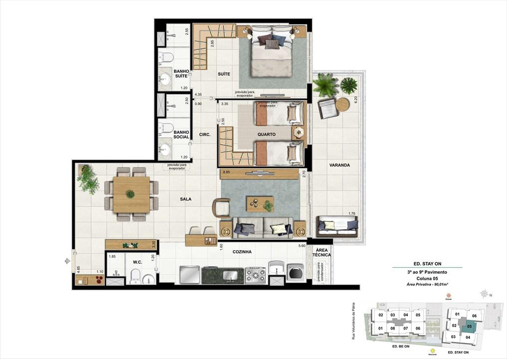 Ed. STAY ON -  Apto. 305 | Coluna 5 | ON – Apartamentoem  Botafogo - Rio de Janeiro - Rio de Janeiro