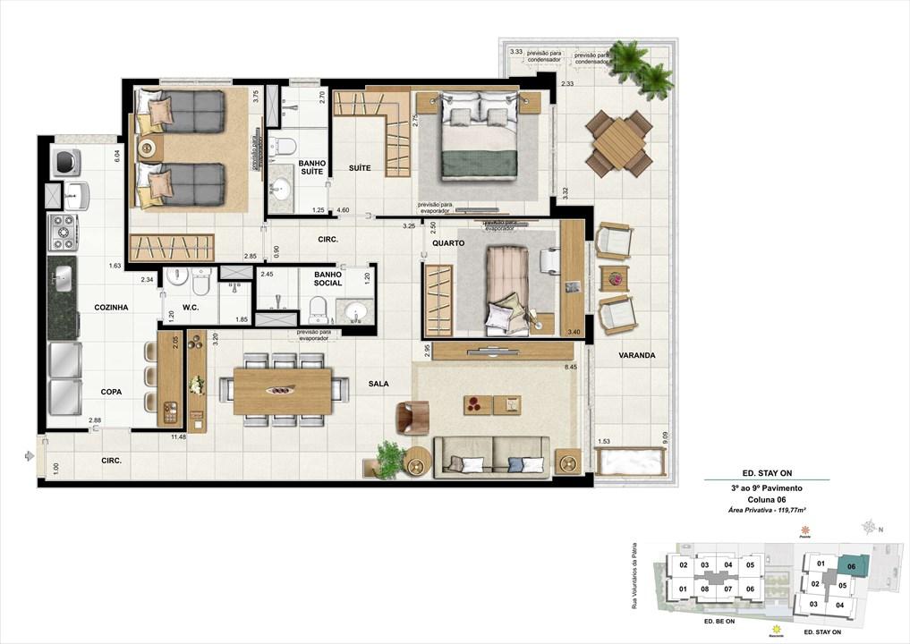 Ed. STAY ON -  Apto. 306 | Coluna 6 | ON – Apartamentoem  Botafogo - Rio de Janeiro - Rio de Janeiro