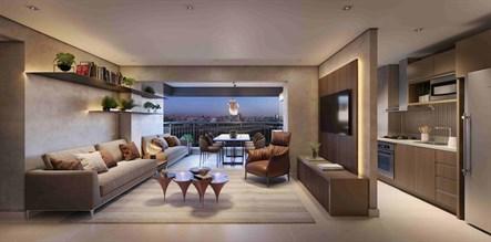 Perspectiva Ilustrada do Living 76m² Torre View