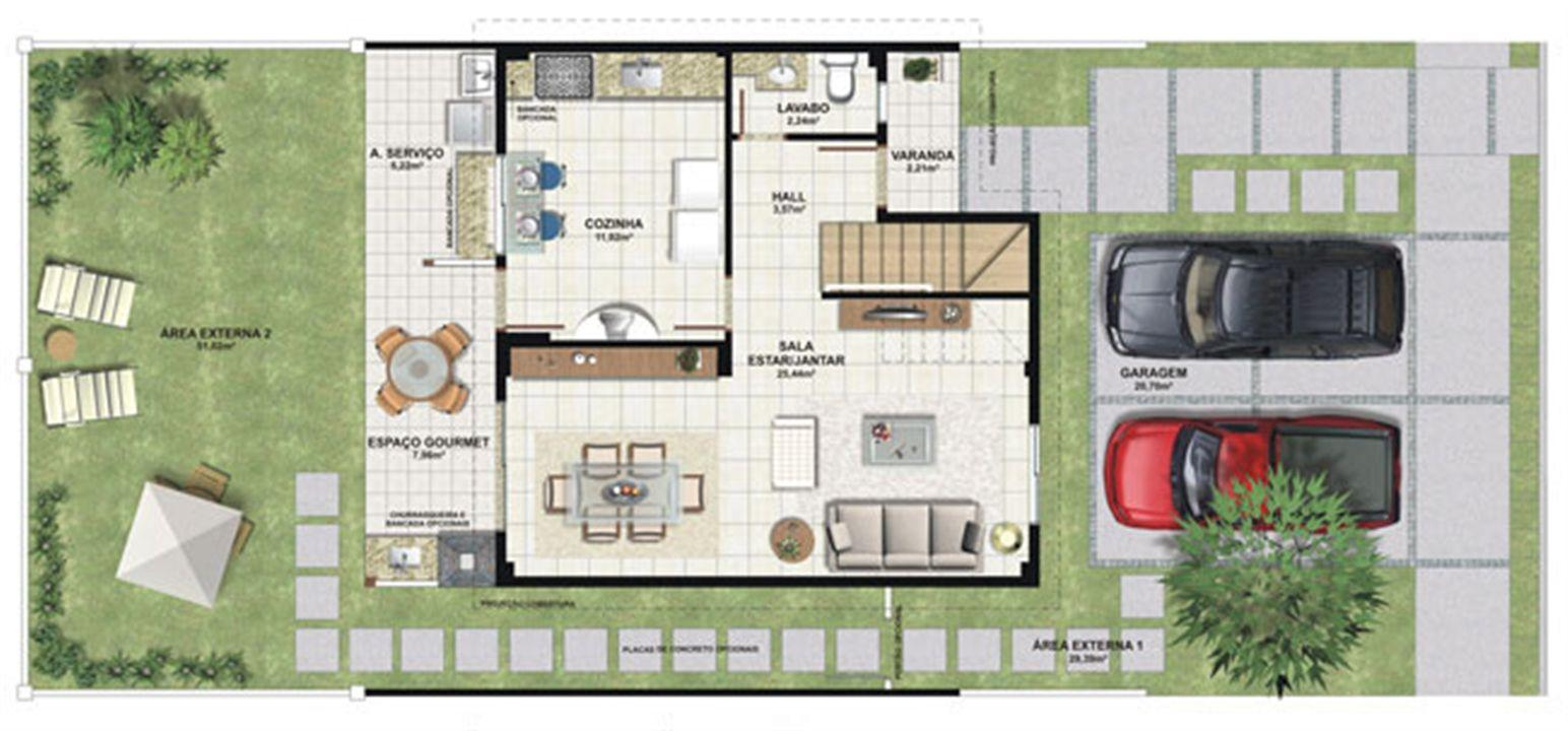Planta casa A 120,42 m² - pavimento inferior | Aldeia Parque - Igarapé – Casana  Colina de Laranjeiras - Serra - Espírito Santo