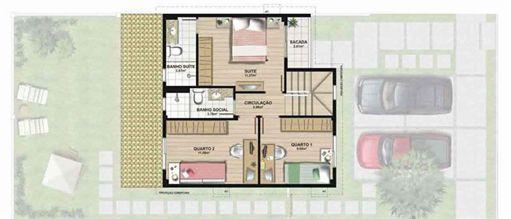 Planta casa A 120,42 m² - pavimento superior | Aldeia Parque - Igarapé – Casa na  Colina de Laranjeiras - Serra - Espírito Santo