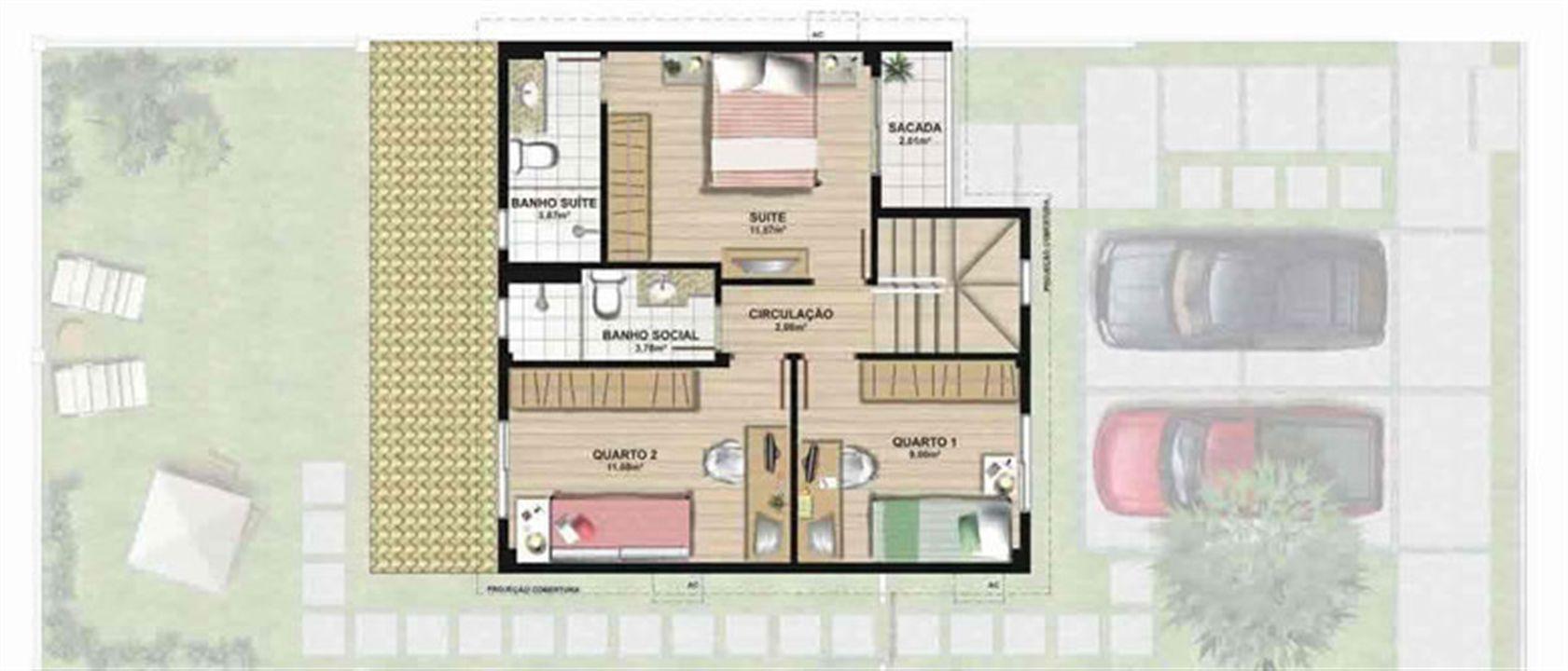 Planta casa A 120,42 m² - pavimento superior | Aldeia Parque - Igarapé – Casana  Colina de Laranjeiras - Serra - Espírito Santo