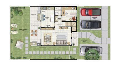 Planta casa B 140,21 m² - pavimento inferior | Aldeia Parque - Igarapé – Casa na  Colina de Laranjeiras - Serra - Espírito Santo