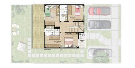 Planta casa B 140,21 m² - pavimento superior | Aldeia Parque - Igarapé – Casa na  Colina de Laranjeiras - Serra - Espírito Santo