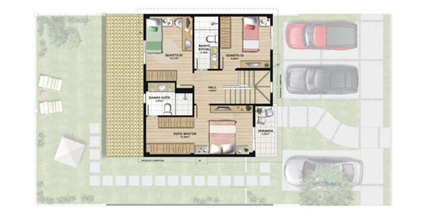 Planta casa B 140,21 m² - pavimento superior | Aldeia Parque - Igarapé – Casana  Colina de Laranjeiras - Serra - Espírito Santo