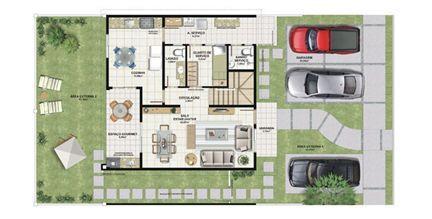 Planta casa C 165,29 m² - pavimento inferior | Aldeia Parque - Igarapé – Casa na  Colina de Laranjeiras - Serra - Espírito Santo