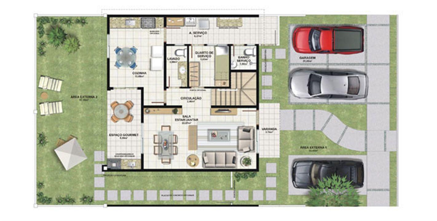 Planta casa C 165,29 m² - pavimento inferior | Aldeia Parque - Igarapé – Casana  Colina de Laranjeiras - Serra - Espírito Santo