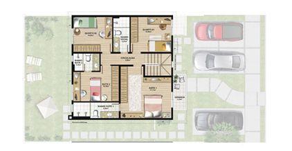 Planta casa C 165,29 m² - pavimento superior | Aldeia Parque - Igarapé – Casa na  Colina de Laranjeiras - Serra - Espírito Santo
