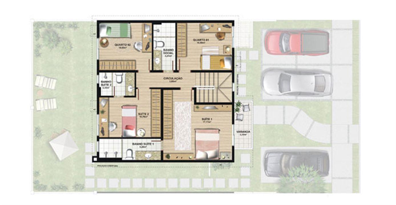 Planta casa C 165,29 m² - pavimento superior | Aldeia Parque - Igarapé – Casana  Colina de Laranjeiras - Serra - Espírito Santo
