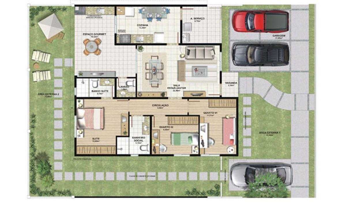 Planta casa D 124,47 m² | Aldeia Parque - Igarapé – Casana  Colina de Laranjeiras - Serra - Espírito Santo