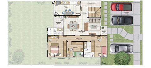 Planta casa E 210,87 m² - pavimento térreo | Aldeia Parque - Igarapé – Casa na  Colina de Laranjeiras - Serra - Espírito Santo