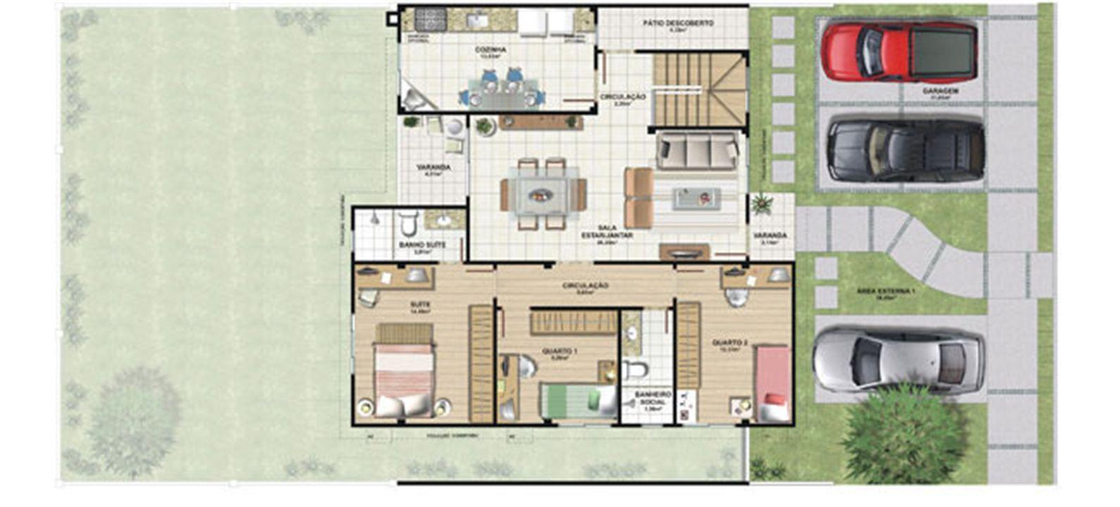 Planta casa E 210,87 m² - pavimento térreo | Aldeia Parque - Igarapé – Casana  Colina de Laranjeiras - Serra - Espírito Santo