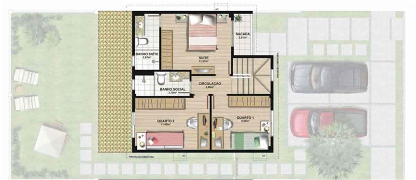 Planta casa A 120,42 m² - superior | Aldeia Parque - Itatiaia – Casana  Colina de Laranjeiras - Serra - Espírito Santo
