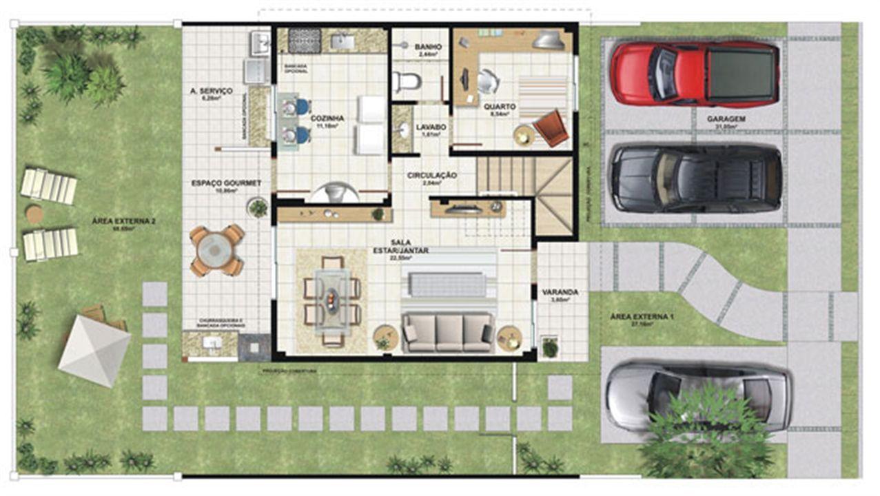 Planta casa B 140,21 m² - inferior | Aldeia Parque - Itatiaia – Casana  Colina de Laranjeiras - Serra - Espírito Santo