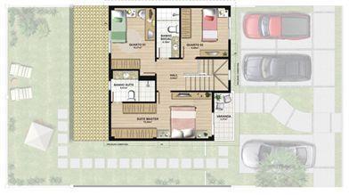 Planta casa B 140,21 m² - superior | Aldeia Parque - Itatiaia – Casa na  Colina de Laranjeiras - Serra - Espírito Santo