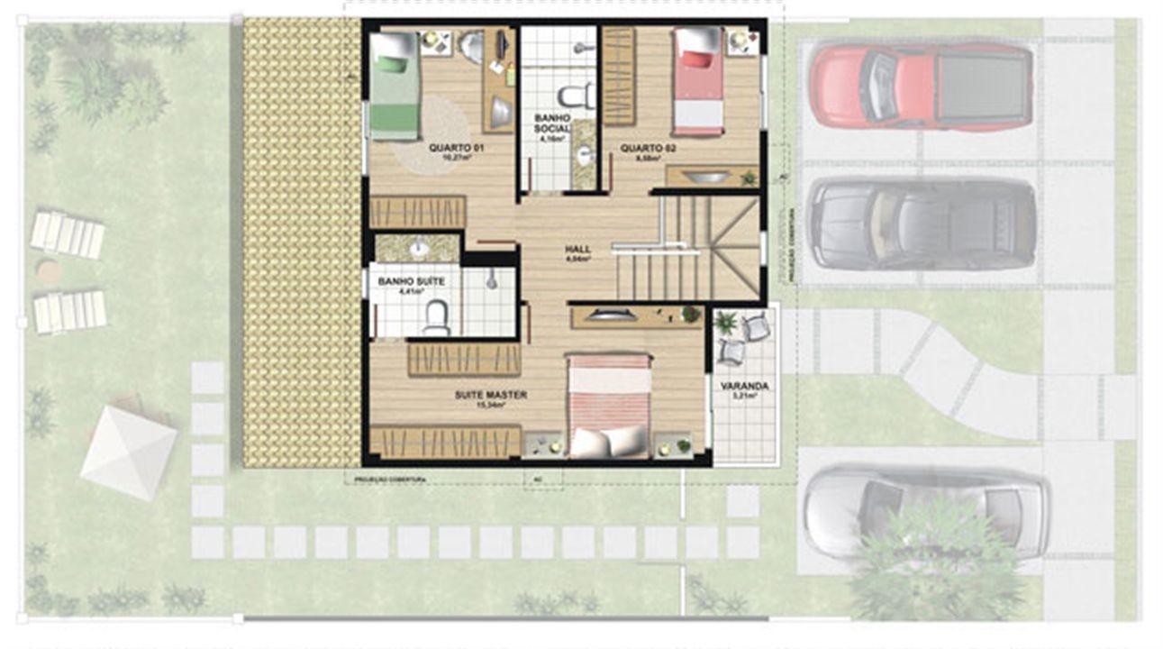 Planta casa B 140,21 m² - superior | Aldeia Parque - Itatiaia – Casana  Colina de Laranjeiras - Serra - Espírito Santo