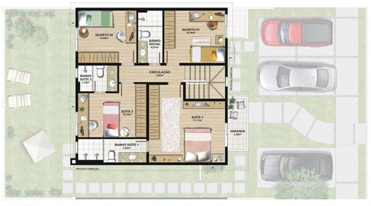 Planta casa C 165,29 m² - superior | Aldeia Parque - Itatiaia – Casana  Colina de Laranjeiras - Serra - Espírito Santo