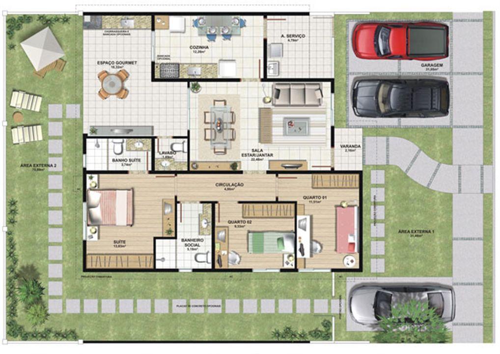Planta casa D 124,47 m² | Aldeia Parque - Itatiaia – Casana  Colina de Laranjeiras - Serra - Espírito Santo