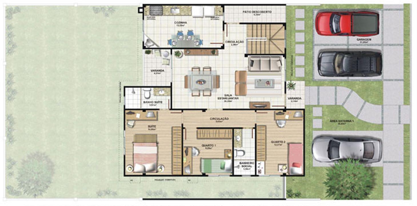 Planta casa E 210,87 m² - térreo | Aldeia Parque - Itatiaia – Casana  Colina de Laranjeiras - Serra - Espírito Santo