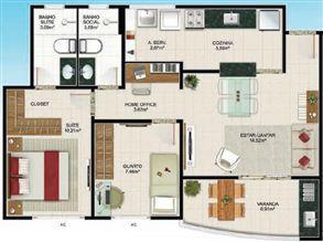 Planta 2 quartos - 65 m² | Aldeia Parque - Itaúna – Apartamento na  Colina de Laranjeiras - Serra - Espírito Santo