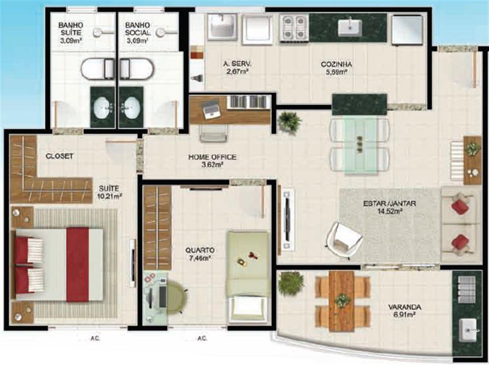 Planta 2 quartos - 65 m² | Aldeia Parque - Itaúna – Apartamentona  Colina de Laranjeiras - Serra - Espírito Santo