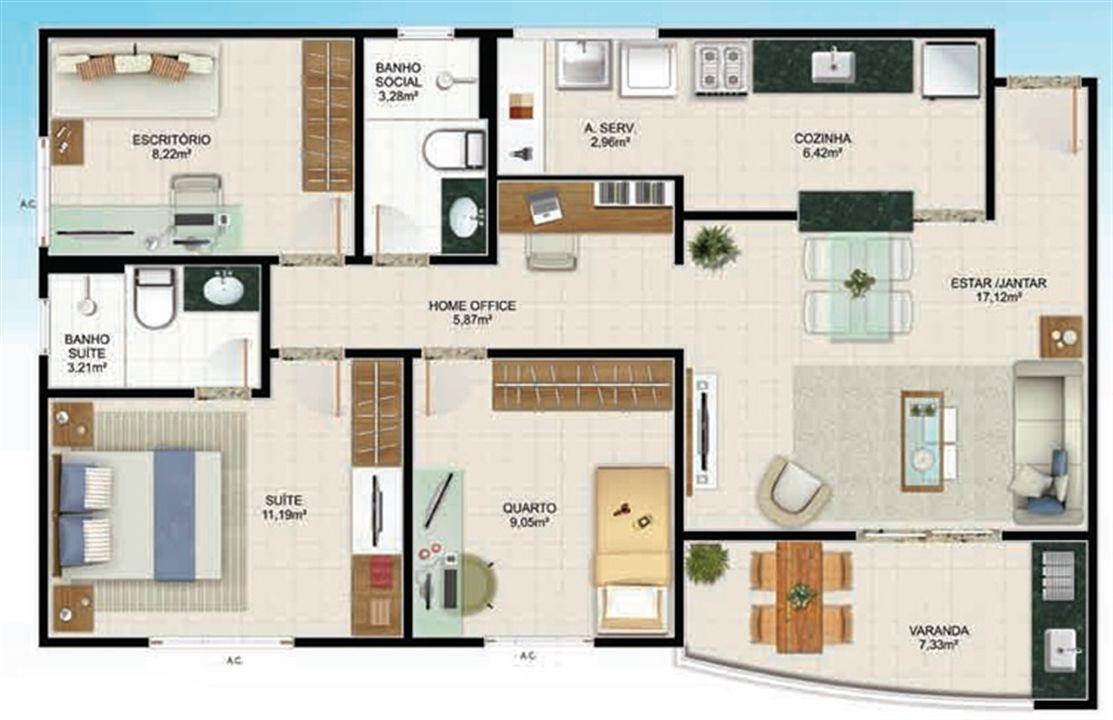 Planta 3 quartos - 85 m² | Aldeia Parque - Itaúna – Apartamentona  Colina de Laranjeiras - Serra - Espírito Santo