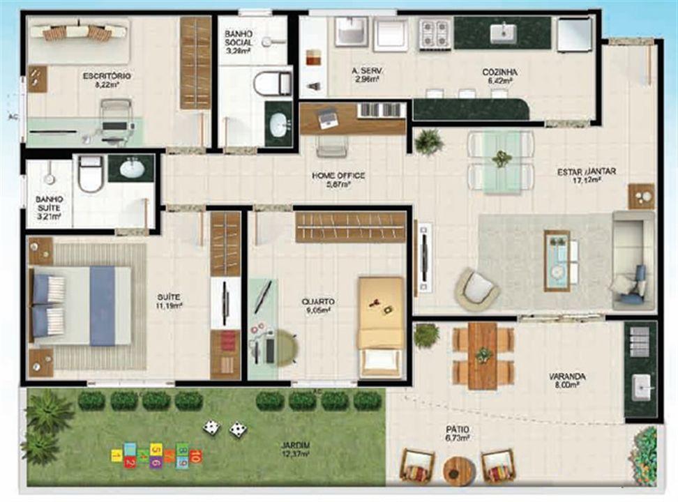 Planta Térreo 3 quartos - 106 m² | Aldeia Parque - Itaúna – Apartamentona  Colina de Laranjeiras - Serra - Espírito Santo