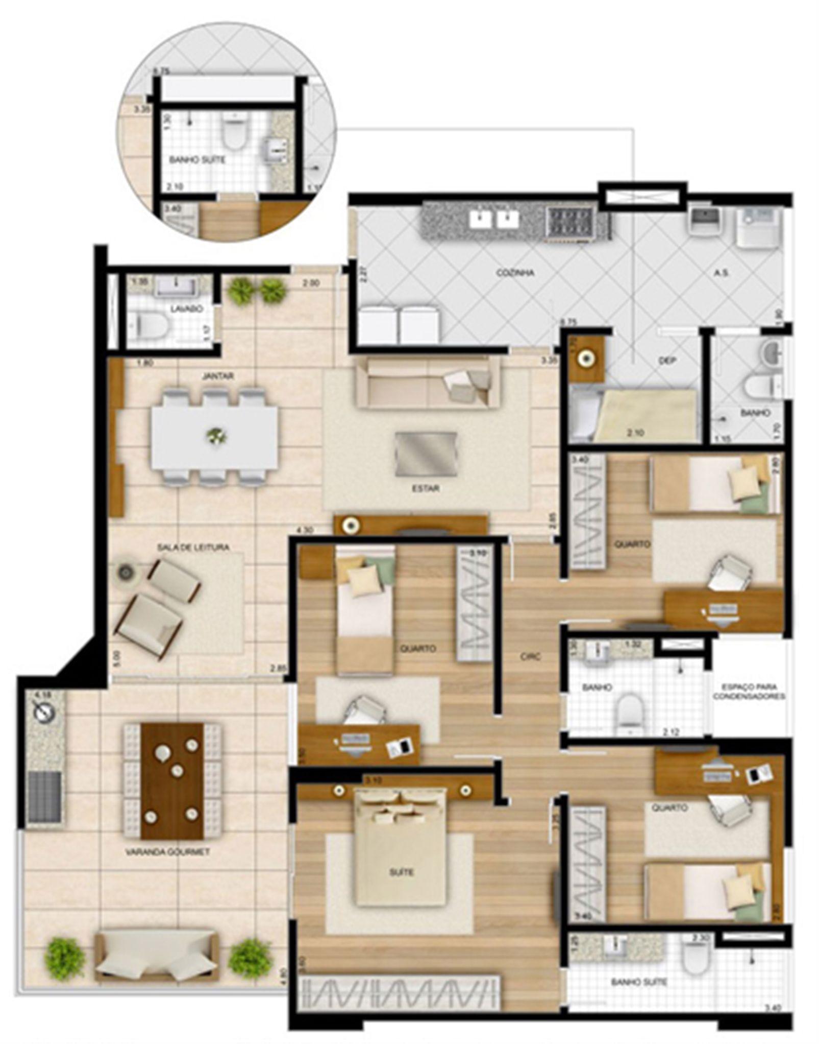 142,24 m² - Planta 4 quartos1 sui´te  | La Plage Residencial Clube – Apartamentona  Praia da Costa - Vila Velha - Espírito Santo