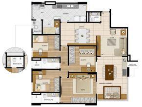 143,95 m² - Planta 4 quartos1 sui´te  | La Plage Residencial Clube – Apartamento na  Praia da Costa - Vila Velha - Espírito Santo