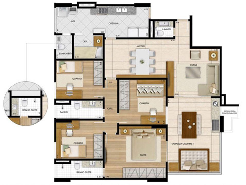 143,95 m² - Planta 4 quartos1 sui´te  | La Plage Residencial Clube – Apartamentona  Praia da Costa - Vila Velha - Espírito Santo