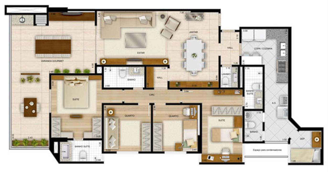Planta 4 quartos169,82 m² - 2 suítes | La Plage Residencial Clube – Apartamentona  Praia da Costa - Vila Velha - Espírito Santo