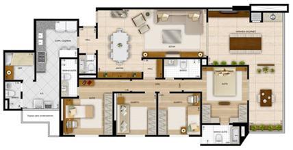 Planta 4 quartos170,32 m² - 2 suítes | La Plage Residencial Clube – Apartamento na  Praia da Costa - Vila Velha - Espírito Santo