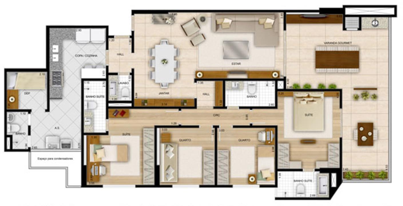 Planta 4 quartos170,32 m² - 2 suítes | La Plage Residencial Clube – Apartamentona  Praia da Costa - Vila Velha - Espírito Santo