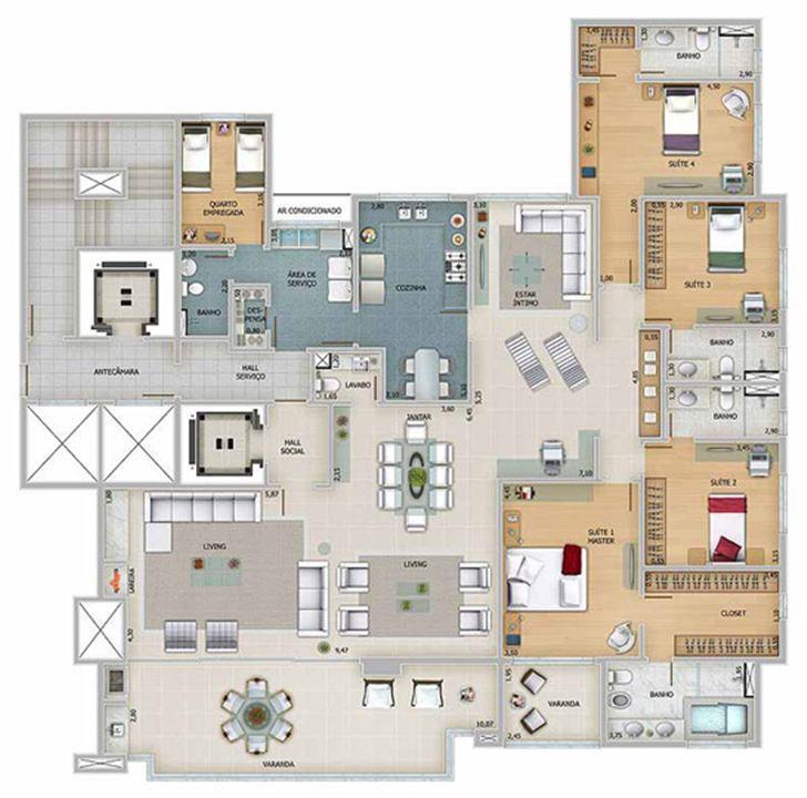 Edifício Apolo - Planta do 17º ao 22º pavimento | Olympus - Apolo e Athena – Apartamentona  Vila da Serra - Nova Lima - Minas Gerais