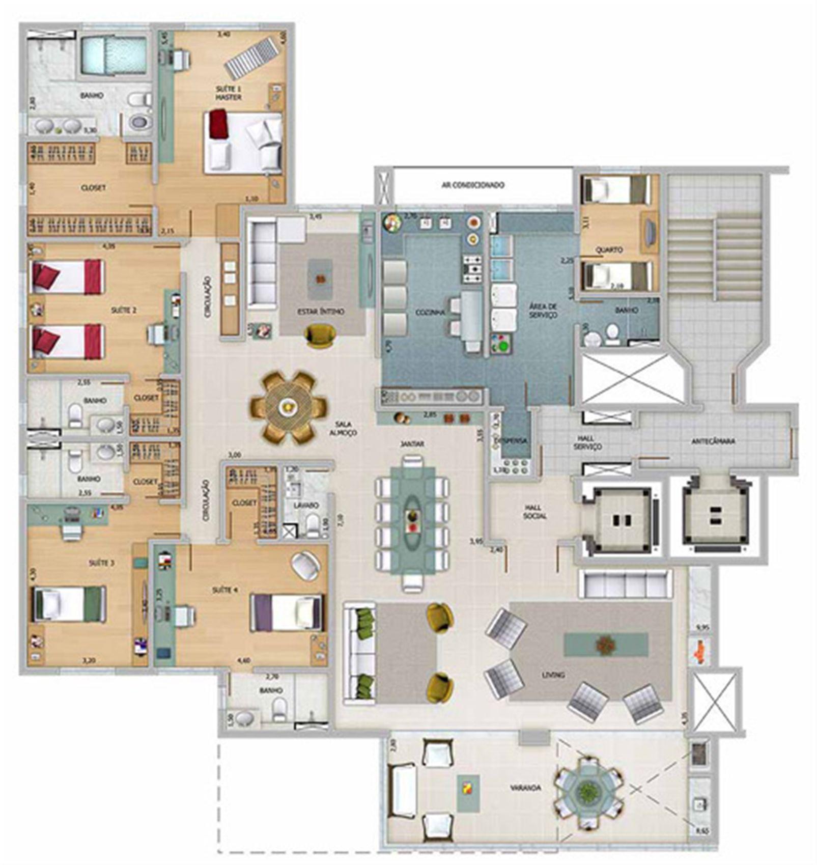 Edifício Athena - Planta do 17º pavimento | Olympus - Apolo e Athena – Apartamentona  Vila da Serra - Nova Lima - Minas Gerais