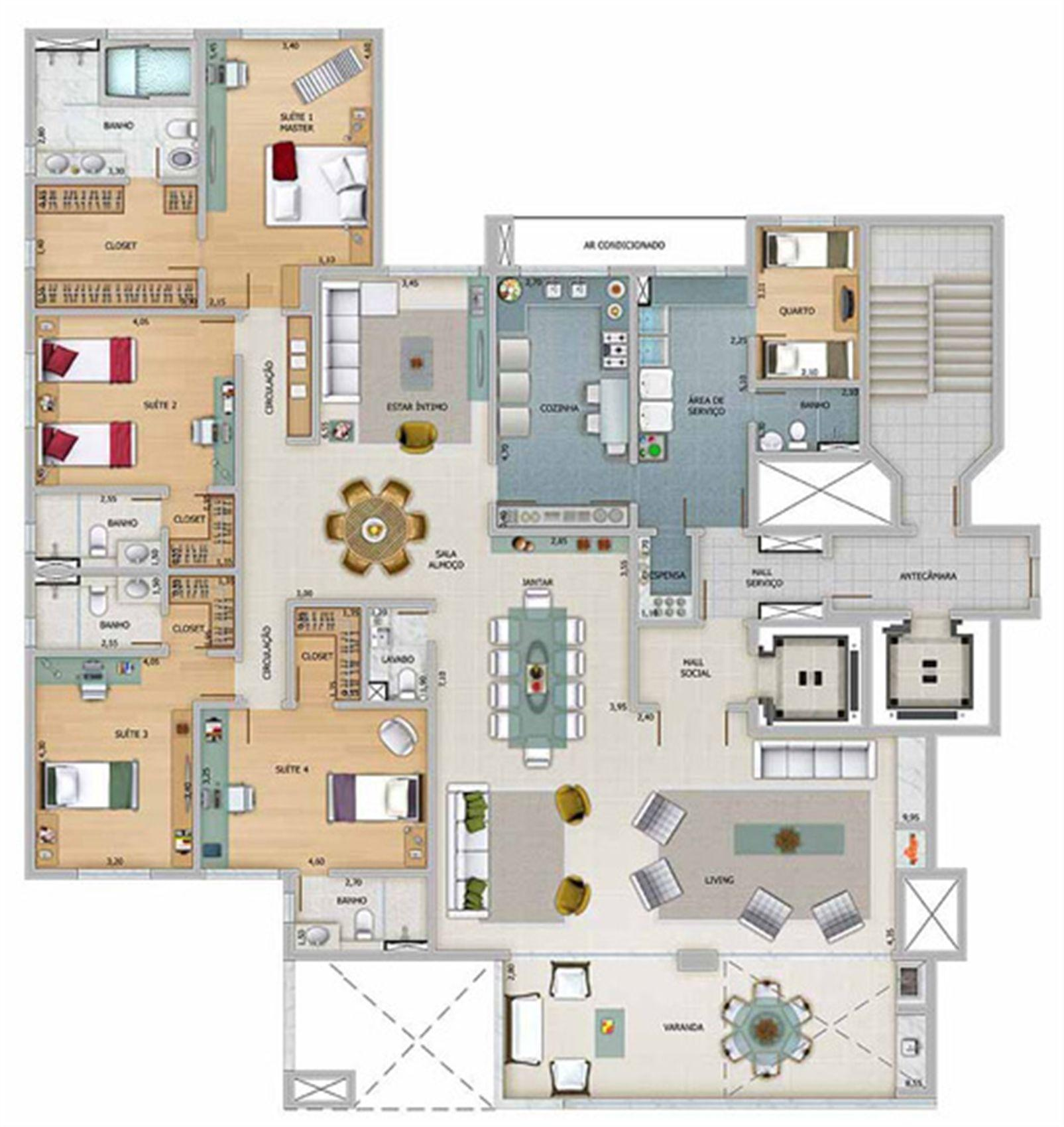 Edifício Athena - Planta do 19º e 21º pavimento | Olympus - Apolo e Athena – Apartamentona  Vila da Serra - Nova Lima - Minas Gerais