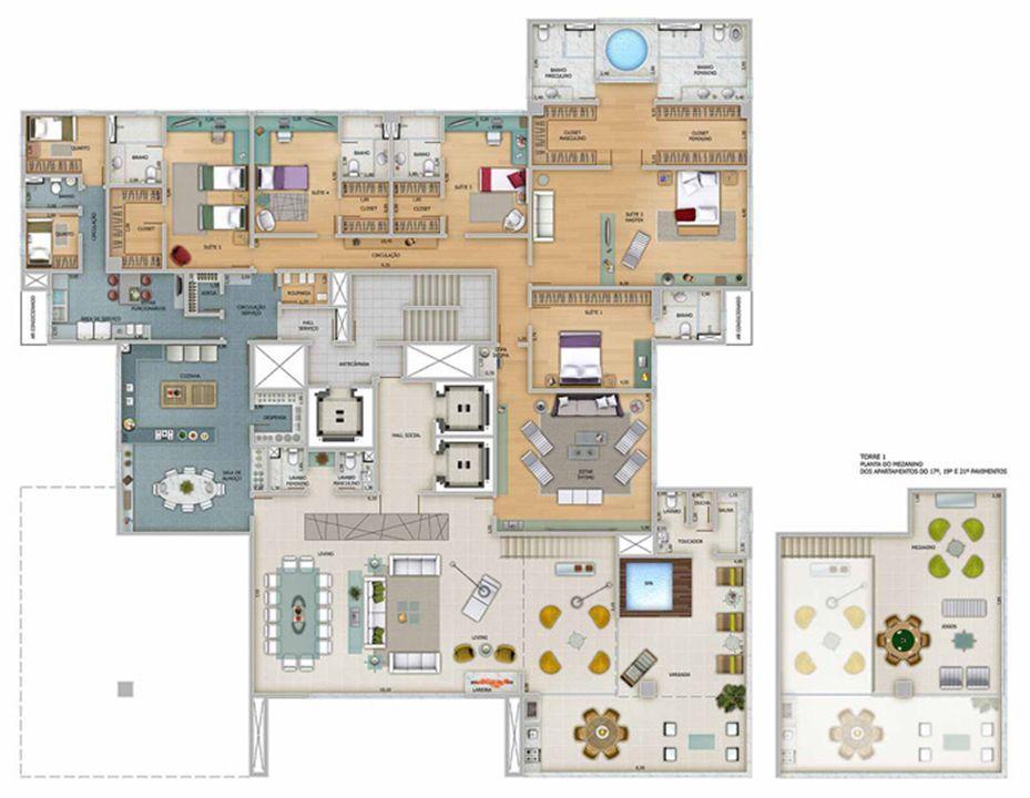 Edifício Zeus - Planta do 18º, 20º e 22º pavimento | Olympus - Apolo e Athena – Apartamentona  Vila da Serra - Nova Lima - Minas Gerais