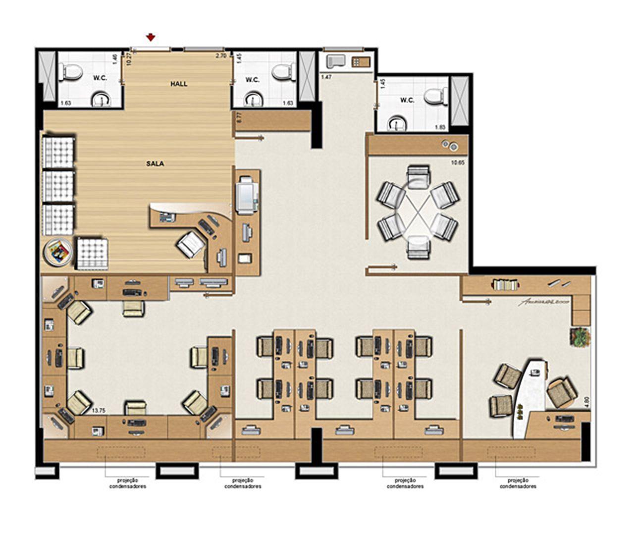 Planta opção 126 m² | CEO  Office – Salas Comerciais na  Barra da Tijuca - Rio de Janeiro - Rio de Janeiro