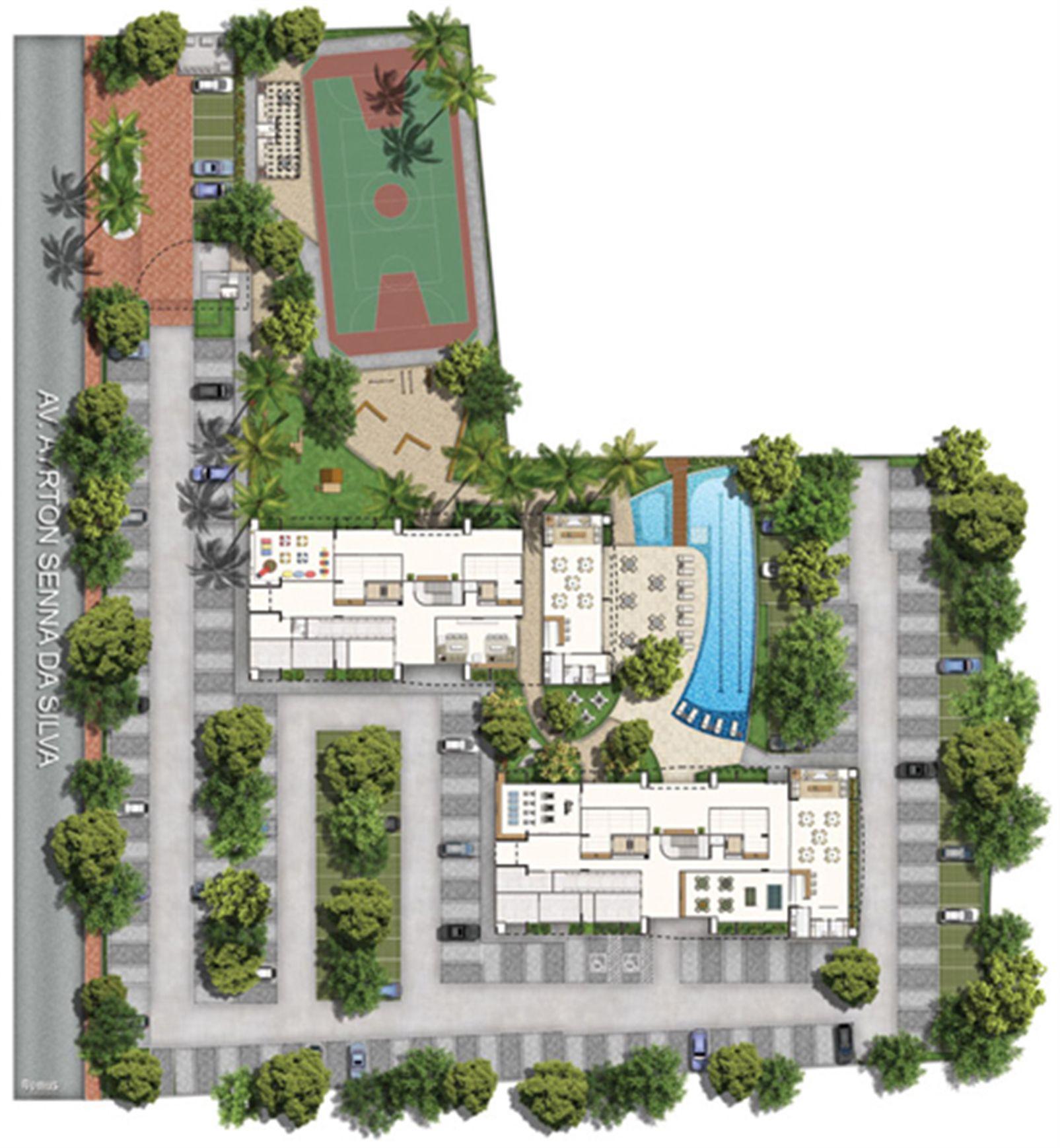 Perspectiva ilustrada da implantação | Vita Praia - Recife – Apartamentoem  Piedade - Recife - Pernambuco