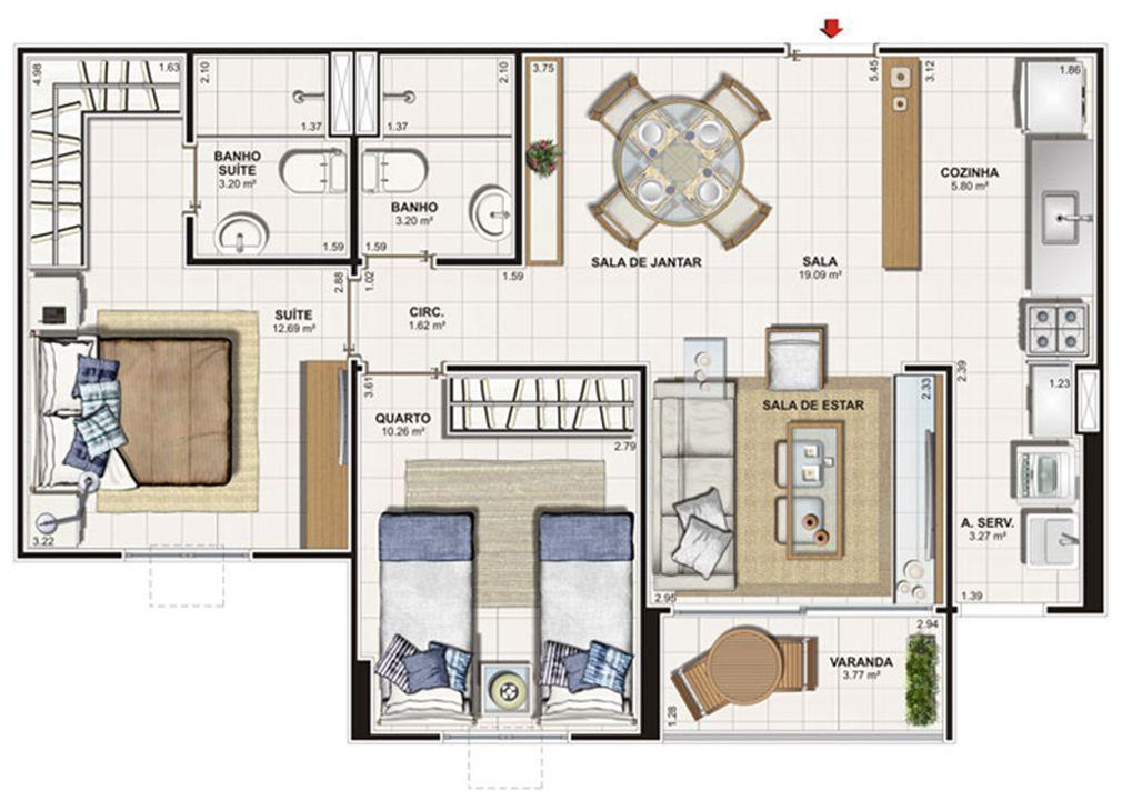 Planta 2 quartos 62 m² | Vita Praia - Recife – Apartamentoem  Piedade - Recife - Pernambuco