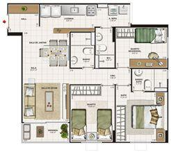 Planta 3 quartos (1 suíte) - 76 m² | Vita Praia - Recife – Apartamento em  Piedade - Recife - Pernambuco