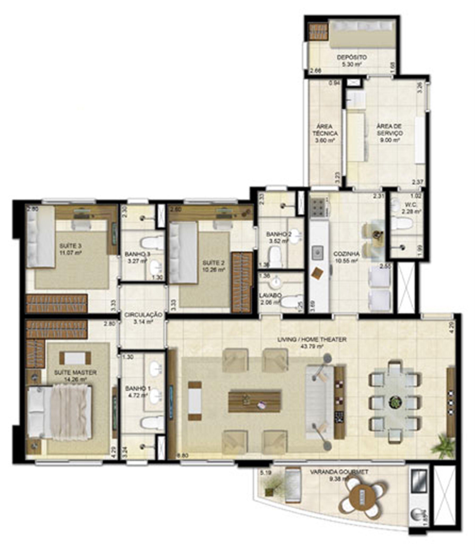 3 suítes (living ampliado) - 136 m² | Peninsula Way - Ponta D´Areia – Apartamento na  Ponta D'areia - São Luís - Maranhão
